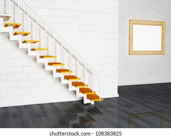 Interior design scene with a picture and a stairs
