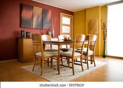 Interior design series: modern colorful dining room