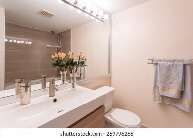 Interior design of a spacious and elegant bathroom.