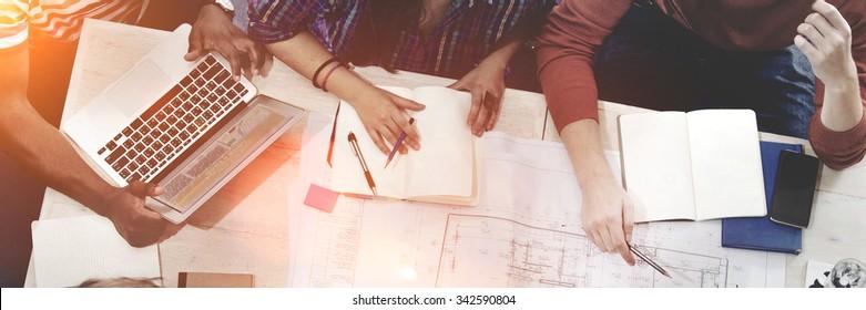 Interior Design Team Meeting Brainstorming Concept