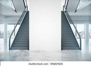Interior design with two staircases, blank wall and city view. Mock up, 3D Render