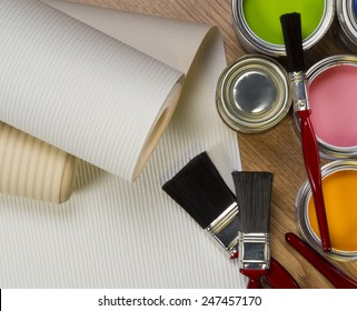 Interior Design - wallpaper and water-based paints used in painting and decorating.