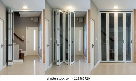 Interior design of wooden staircase with folding doors & Folding Doors Images Stock Photos u0026 Vectors | Shutterstock