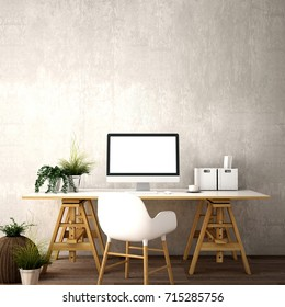interior design for working area with Desktop computer screen on white top desk,working space,working background ,interior of working room , concrete background,3d illustration,3d rendering