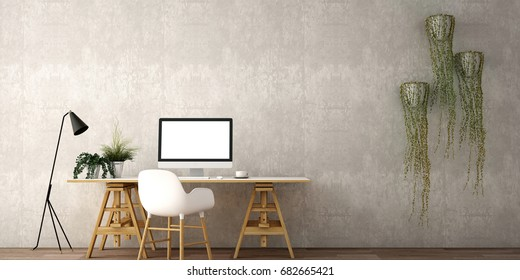 interior design for working area with Destop computer screen on white top desk,working space,working background ,interior of working room , concrete background,3d illustration,3d rendering