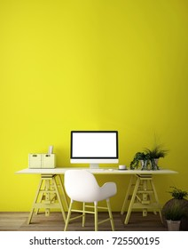interior design for working area with Destop computer screen on white top desk,working space,working background ,interior of working room , yellow color background,3d illustration,3d rendering