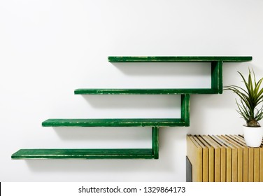Interior design.empty shelf on white wall.
