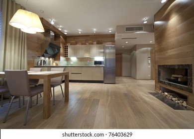 Interior of designer living room with kitchen