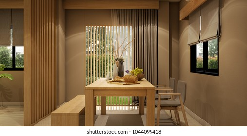 interior design,modern living area and dining area with table,wood floor and tatami mat and traditional japanese door ,was designed specifically in Japanese style, 3d illustration,