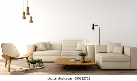 interior design,modern living room with sofa,armchair,table,lamp,wood floor and white wall,was designed specifically for the big family who love in modern or minimal style,3d illustration,3d rendering