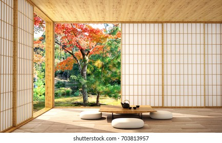 interior design,modern living room with table,wood floor,was designed specifically for who love in japanese style,3d illustration,3d rendering