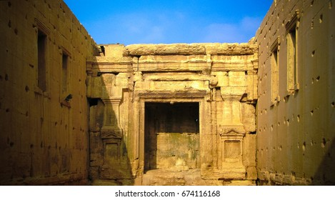 Interior of Destroyed temple of Baal or Bel in Palmyra, Syria.