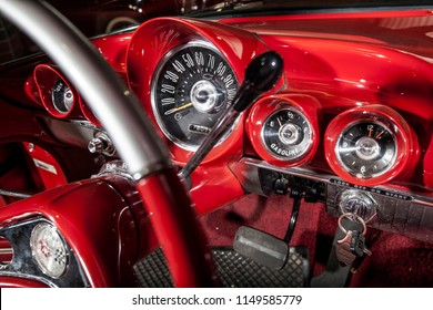 Interior detail of ignition and keys of a 1956 Chevrolet Impala, forms part of Oom Jannie's classic car collection, Bloemfontein, Orange Free State / South Africa - Nov 19 2015