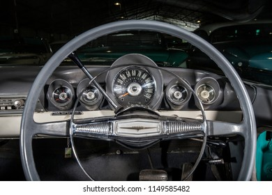 Interior detail of instrument cluster of an 1954 Chevrolet Impala, forms part of Oom Jannie's classic car collection, Bloemfontein, Orange Free State / South Africa - Nov 19 2015