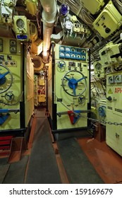 The Interior Of A Diesel Submarine, A Battery Compartment