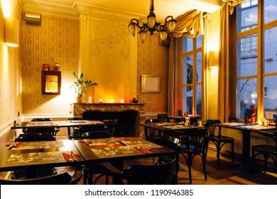 interior of a dining room in cozy restaurant