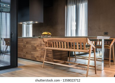 Interior of a dining room in luxury apartment
