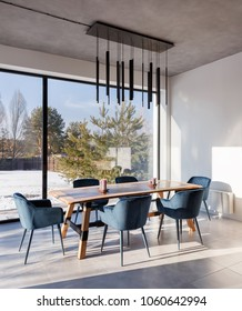 interior dining room with panoramic windows and a view of the courtyard.