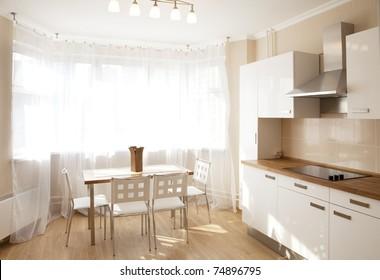 Interior of a dining room in sunlight