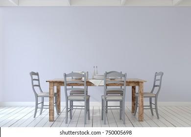 Interior of dining-room. Interior mockup. 3d render.