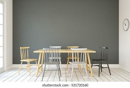 Interior of dining-room interior in scandinavic style.3d render.