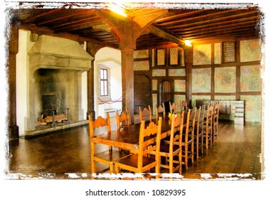 interior of dinning room in medieval castle