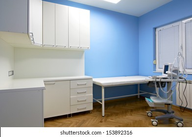 Interior of a doctor's consulting room with Medical ultrasound diagnostic equipment
