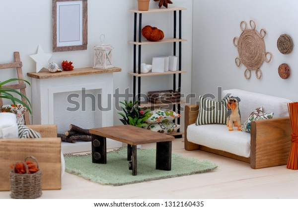 Fantastic Interior Doll House Living Room Sofa Stock Photo Edit Now Creativecarmelina Interior Chair Design Creativecarmelinacom