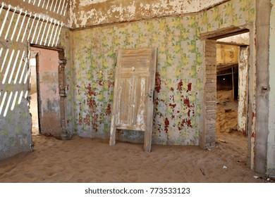 Interior doorway in the abandoned ghost town of Kolmanskop in Namibia.
