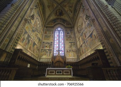 Interior of The Duomo di Orvieto is a large 14th century Roman Catholic cathedral situated in the town of Orvieto in Umbria, central Italy on February 6, 2017