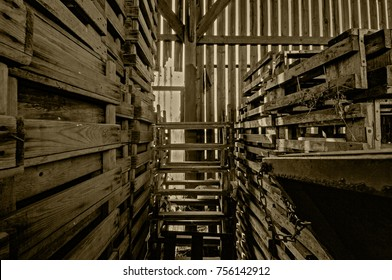 Interior of a Dutch old weathered wood barn in the Netherlands