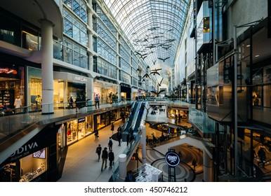 The interior of the Eaton Centre, in downtown Toronto, Ontario.