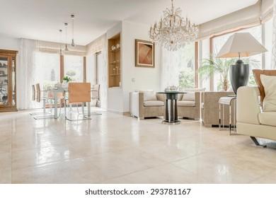 Interior of elegant exclusive villa - horizontal view