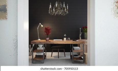 Interior of a elegant home study - 3 D render using 3 D S Max