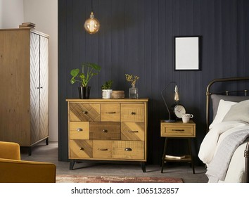 Interior elegant wood wardrobe in modern bedroom