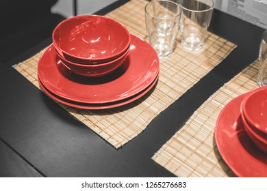 interior elements. plates on the table, serving dishes