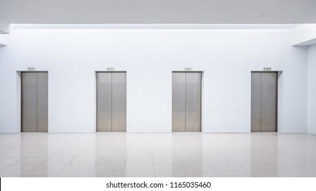 Interior with elevator doors. Mock up