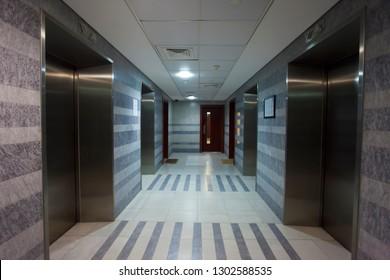 interior of elevator hall or corridor