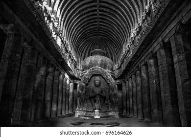 Interior of Ellora Cave, India, December 2016. A landscape view of The Ellora caves interior which is one of the largest rock-cut ancient Hindu temples located in Ellora, India.