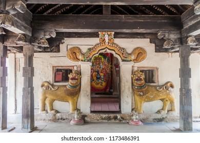 Interior of Embekka Devalaya (Embekke Devale) temple near Kandy, Sri Lanka
