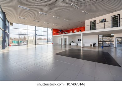 Interior of empty car dealership