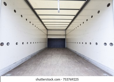 Interior of an empty cargo truck trailer
