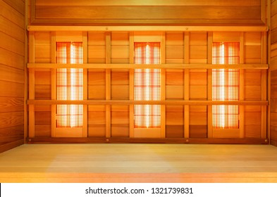 Interior of empty classic wooden sauna, infrared panels