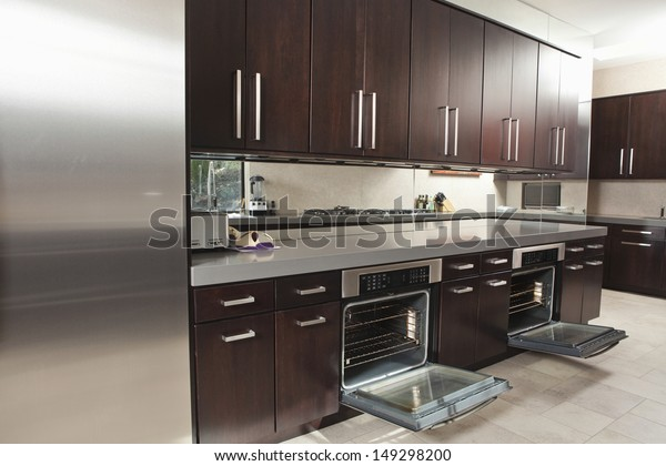 Interior Empty Commercial Kitchen Open Oven Stock Photo ...