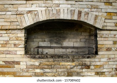 Interior of an empty fireplace