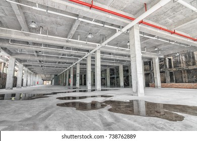 Interior of empty hall inside the factory