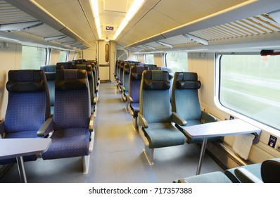 interior of an empty high speed train car