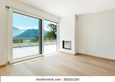 Interior, empty living room of a modern apartment