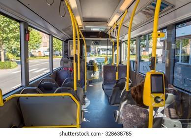 Interior of empty modern european city bus