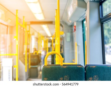 Interior of empty modern european city bus in Sweden on sunset